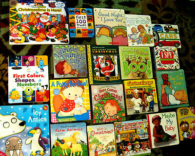 Lot 20 Board Books Kids/Toddler/Baby/Preschool/Daycare Christmas Vgc L@@K!