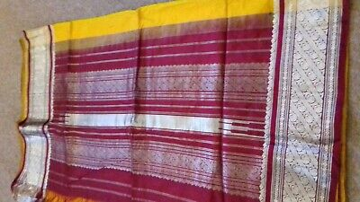 Pure silk indian saree sari kataan 6 yard beautiful print south indian yellow bu