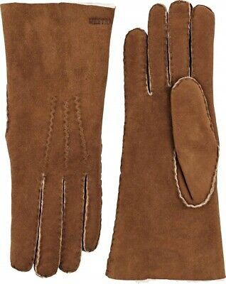Hestra 168151 Womens Suede Sheepskin Cold Weather Winter Gloves Brown Size 6