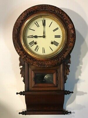 Ornately Carved Antique Regulator Gong Chime Wall Clock