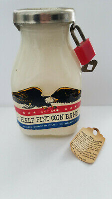 Vintage Half Pint Milk Coin Bank with Lock & Instructions