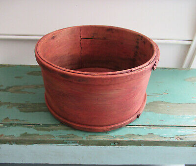 Antique Dry Measure Vtg Primitive Country 12 Quart Round Bucket Old Red Paint