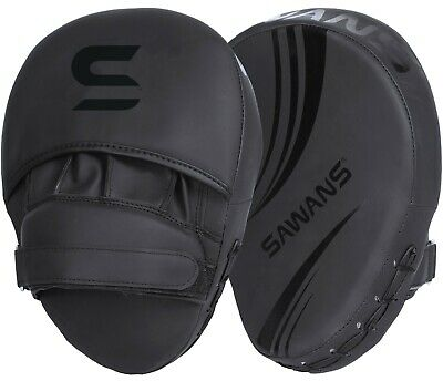 SAWANS® Boxing Focus Pads Hook & Jab Mitts Kick MMA Curved Arm Training Punching