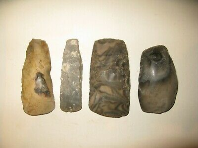 A lot of 4 Neolithic West European Flint Axes, 4th - 3rd millenium B.C.