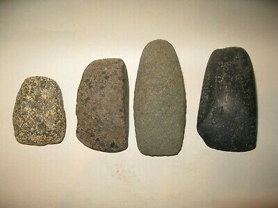 A lot of 4 Neolithic West European Stone Axes, 4th - 3rd millenium B.C.