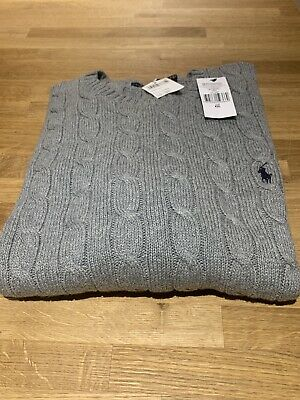 RALPH LAUREN POLO Mens Grey Chunky Cable Knit Jumper Cotton XXL