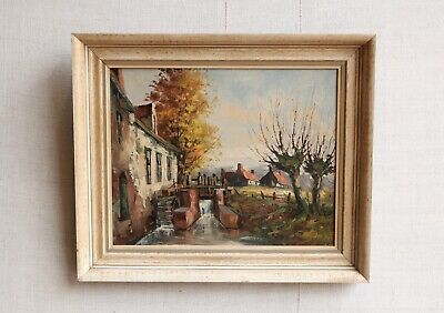 Vintage Antique French Oil Painting Wall Art 63 x 53cm