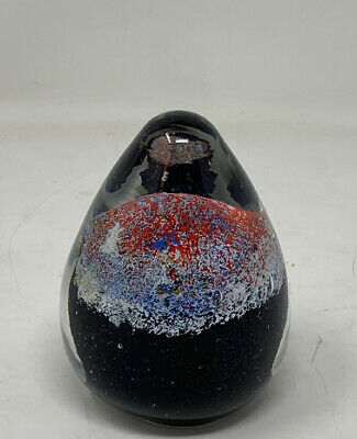 Hand Blown Decoration Glass Paperweight Red, Blue, & Black Design
