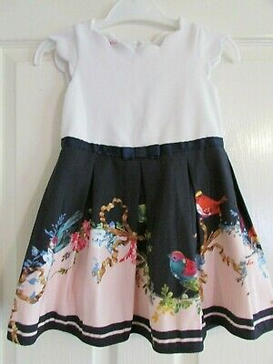 girls pretty white/navy/pink bird design dress from Ted Baker age 2-3yrs