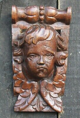 17 / 18th Century CARVED OAK ANGEL HEADGothic Medieval Carving
