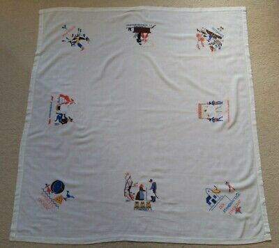Vintage German Hand Embroidered Tablecloth Hans Christian Andersen Themes (132cm
