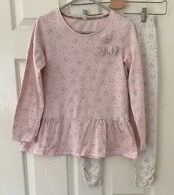 NEXT Girls PJ - Age 10 Pyjama Set Pastel Pink and Stars