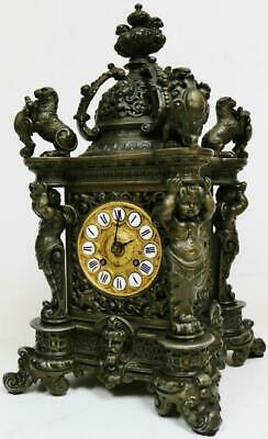Rare Antique Lenzkirch Bracket Clock Cherub Carved 8 day Striking Mantel Clock