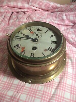 VINTAGE A Johannsen London MARINE SHIPS CLOCK Brass