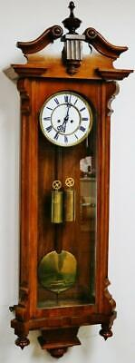 Antique German 8 Day Twin Weight Solid Walnut Rocket Vienna Regulator Wall Clock