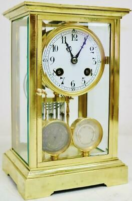 Rare Antique French 8 Day 4 Glass Regulator Mantel Clock Barometer,Thermometer