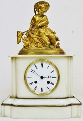 Antique French 8 Day Marble & Bronze Fishing Boy Figurine Striking Mantel Clock