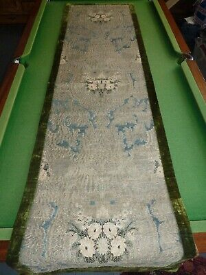 Sumptuous antique silver and chenille brocaded refectory table runner