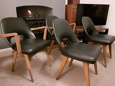 Mid century vintage Benchairs Stoe black vinyl and teak x 4 dining chairs