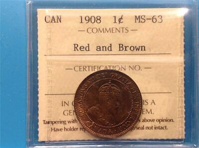 1908 - ICCS - MS-63 - Red and Brown - Large Cent