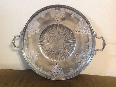Antique Vintage Meriden Silverplate International Silver Co Pierced Cake Plate