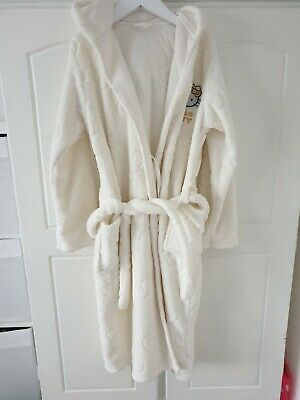 M&S Girls cream hello kitt Fluffy Hooded Dressing Gown 11-12 Yrs good condition