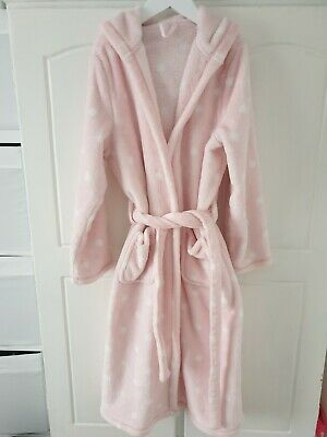 M&S Girls Pink Fluffy Hooded Dressing Gown 11-12 Years good condition