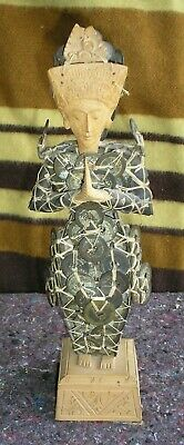 Unusual Asian Coin & Wood Figurine Statue