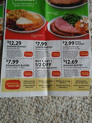 Sheet Of Golden Corral Coupons, Exp 12.29.19