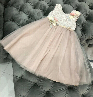 Girls Monsoon Pink Sparkly Dress, Age 7 Years