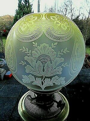 A Quality Victorian Raised Etched Primrose Yellow Twin Duplex Oil Lamp Shade.
