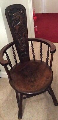 Rare Unusual Fantasy Carved Turned Low Wooden Chair Dragon Sea Horse