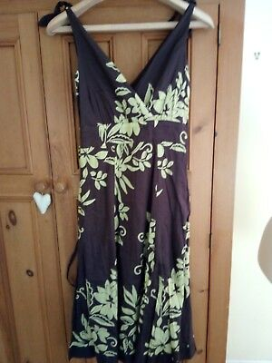 Pretty 100% Cotton Brown/Yellowy green Lined MONSOON Strappy Dress - Size 8  VGC