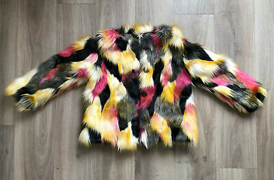 NEXT Kids Girls Rainbow Fur Party Coat Jacket Coat 7 years worn once!!