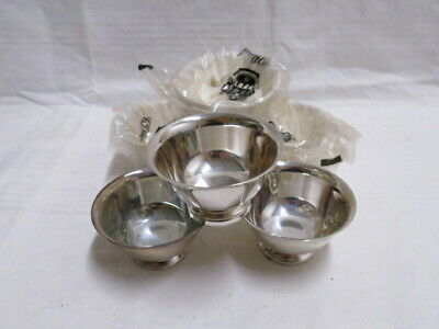 """Reed & Barton Paul Revere Design 6 Silverplate 3.5"""" x 2"""" Footed Bowls CD Peacock"""