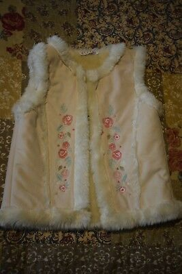 Girls George Cream Embroidered  Fur Gillet Size 3-4 Years
