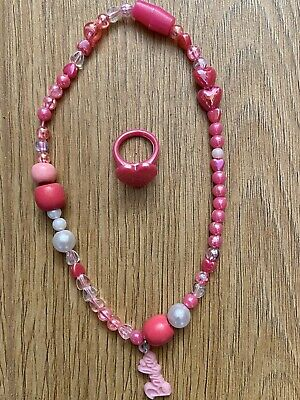 Girls Barbie Beaded Necklace + Plastic Ring, New,