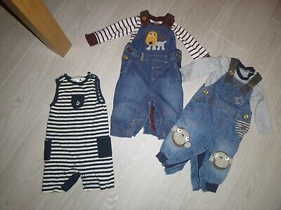 baby boys next denim dungarees outfits age 3-6 months