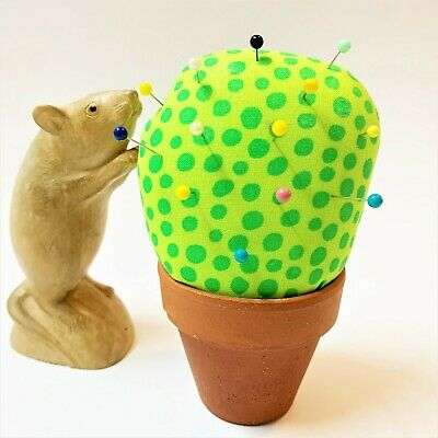 Terracotta Potted Cactus Pin Cushion (Pins Included), 14cm High, Novelty