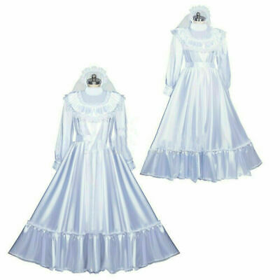 Sissy maid satin wedding dress lockable full long cross dressers