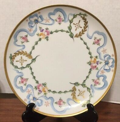 """Antique Limoges Handpainted 8 3/4"""" Plate Roses & Ribbons AK/CD 1900-1910 Exc."""