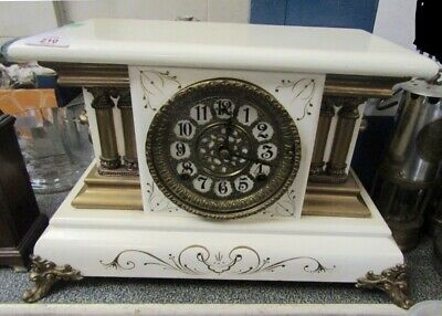 19th century Victorian White wood cased & Gilt brass mantle clock french style