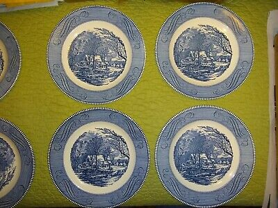 "6 Royal China Currier and Ives The Old Grist Mill Blue Dinner Plates, 10""+"