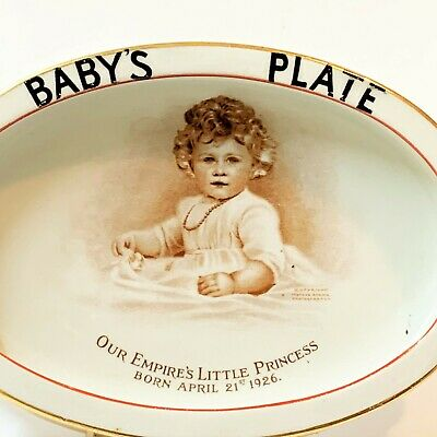 Our Empires Little Princess Elizabeth Rare 1928 Paragon China Baby's Oval Plate