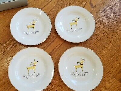 Pottery Barn Reindeer Dessert Plates - Rudolph Set of Four - Very Rare