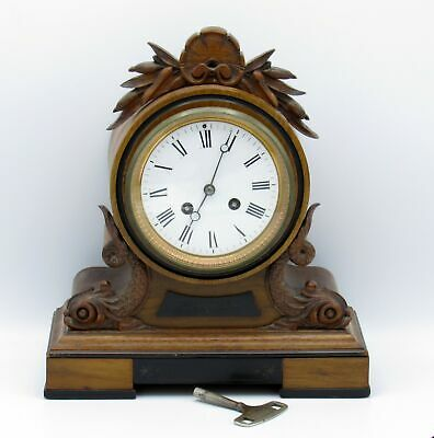 Antique Wind-up Wooden Mantle Clock with Key, NR