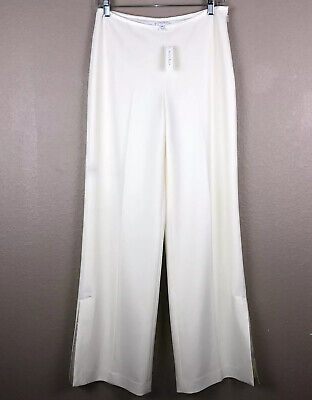 White House Black Market New Sz 4 Regular Ivory Cream Off White Wide Leg Pants