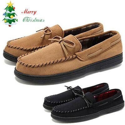 Men Suede Casual Pea Loafers Slippers Slip On Memory Foam Rubber Sole Shoes Xmas