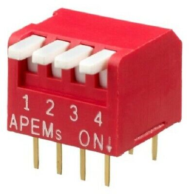 Apem DIP SWITCHES 39Pcs 25mA 4-Way SPST Through Hole Piano, Phosphor Bronze