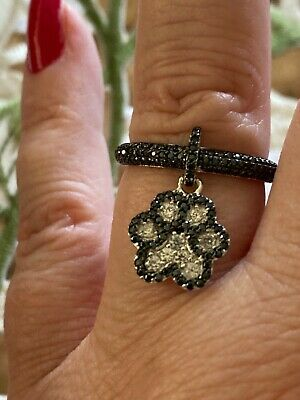 Size 7- 0.99Ct Black Spinel/White Zircon Rhodium Over Sterling Silver Paw Ring